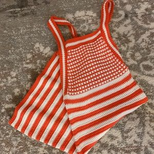 Crochet blood orange and white striped dress